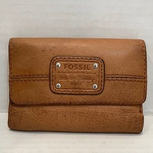 Fossil Vintage Tan Brown Cognac Fold Wallet